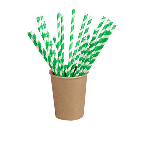 8 3/10 Inch Unwrapped Paper Straws With Green Stripes /Case of 6000