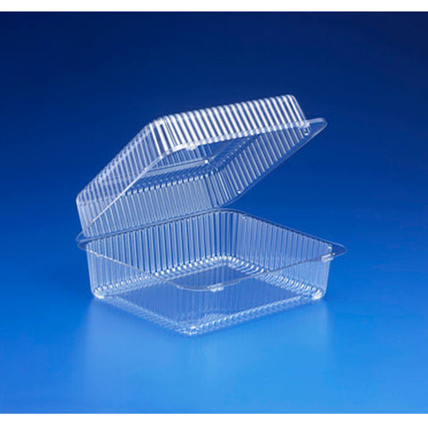 10 3/16W x 8 3/4L x 4 1/4H 194 Oz. Plastic Clear Hinged Containers/Case of 200