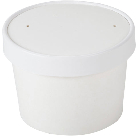 12 oz White Hot Cold Food Container with Lid/Case of 250