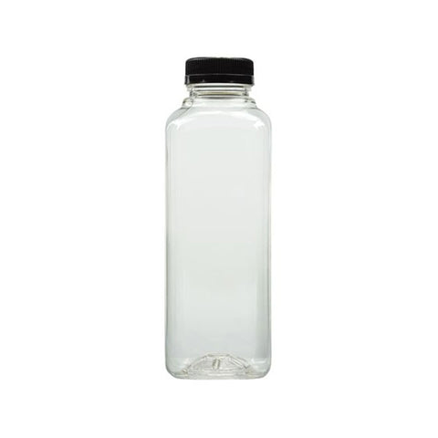 12 oz Clear PET Juice Bottles/Containers with Black Cap/Case of 160