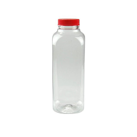 12 oz Clear PET Juice Bottles/Containers with Red Cap/Case of 160