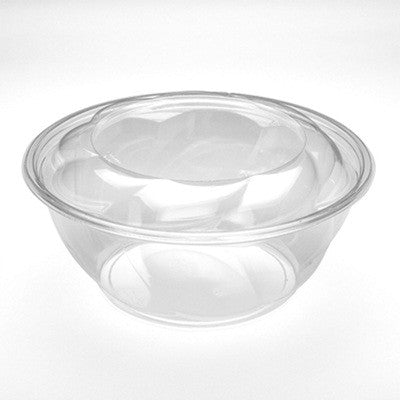 40 oz Clear Swirl Salad Bowl with Dome Lid 100 Set