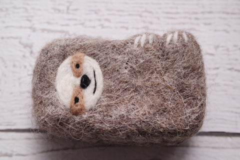 felted sloth soap