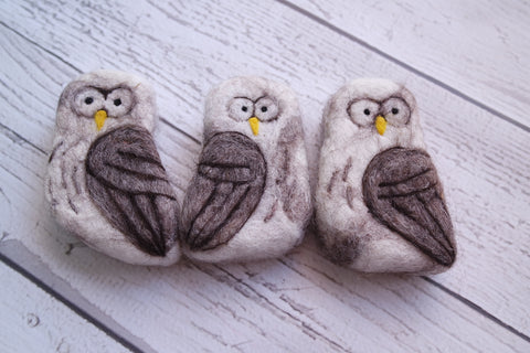 felted soap owl