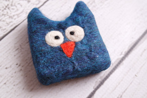 Felted Soap Owl blue
