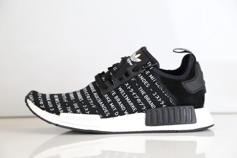 Adidas  NMD_R1 Script Black White Three Stripes Blackout