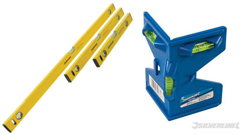 Builders Spirit Level Set (400, 600 & 1000mm) + post level