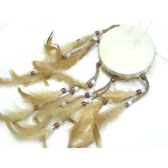 "3.25"" Rawhide Flat Drum w/ Feather Streamers"