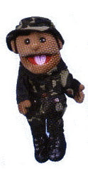 African-American Soldier Puppet (Movable Mouth)
