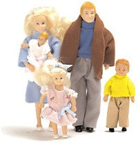 Modern Caucasian Dollhouse Family (5 Poseable Dolls)