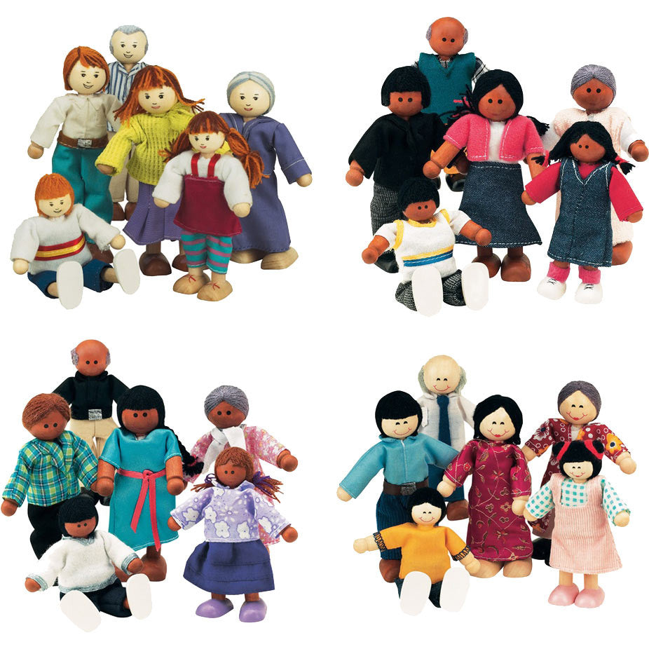 Set of 4 Wooden Doll Families (White, Black, Hispanic, Asian)