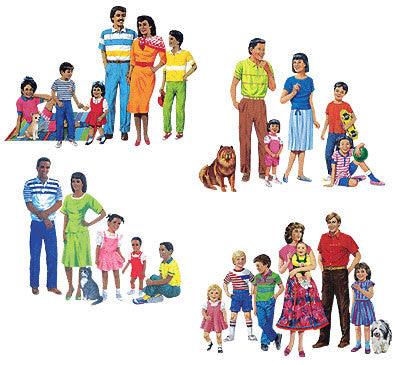 Multi-Cultural Family Felt Sets (4 Families, PRE-CUT)