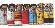 FAMILY Finger Puppets - Caucasian (Set of 7)
