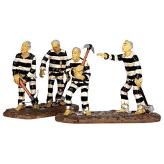 "Miniature - Four Prisoners in Prison Stripe Uniforms (5.5""H)"