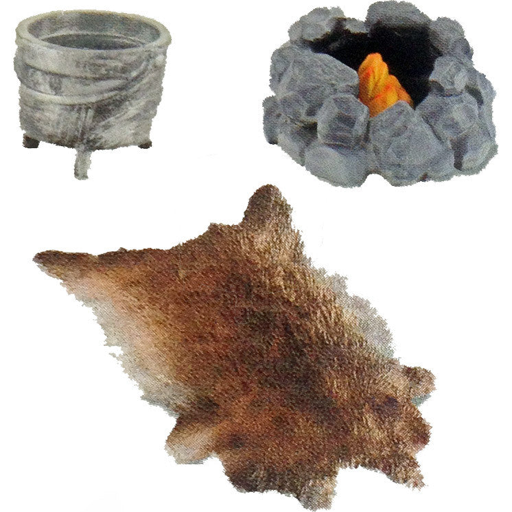 Miniature - Fur Rug & Campfire Set (3-Figures)
