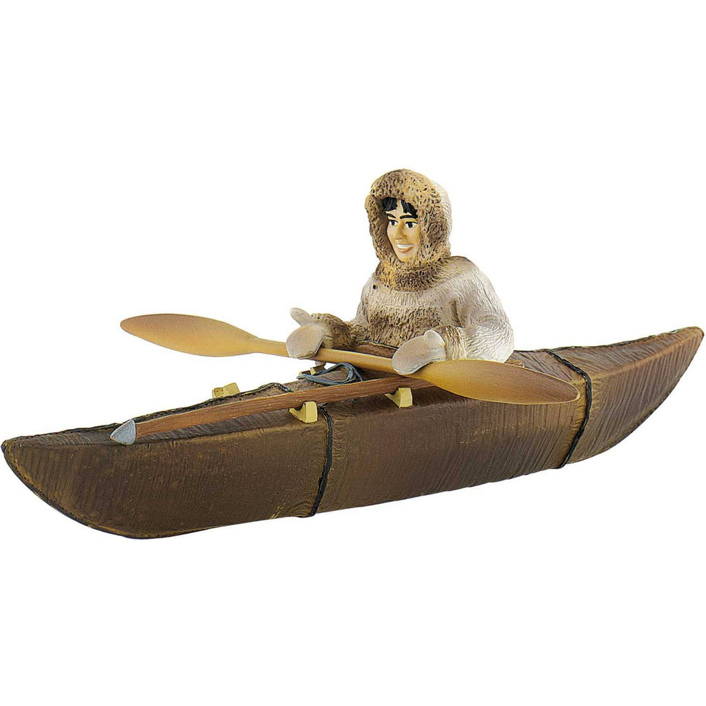 Miniature - Inuk (Eskimo) in Kayak w/ Paddle & Spear