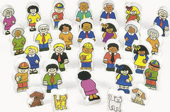 Multi-Ethnic Wooden Block Families (28-Pieces)