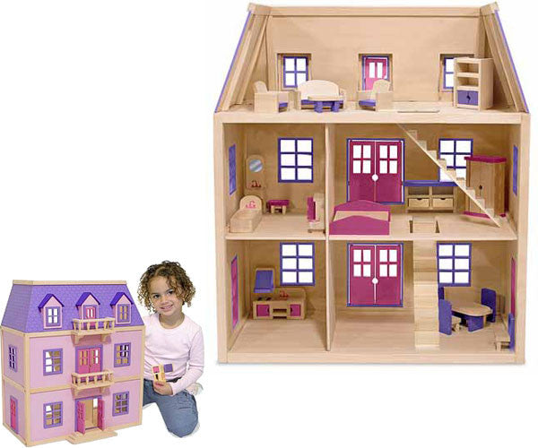 Multi-Level Wooden Dollhouse (Furnished)