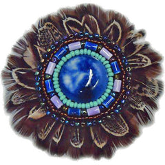 "Native American 3"" Pheasant Feather & Bead Rosette"
