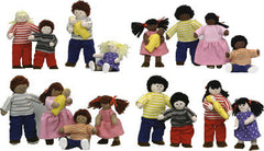Set of 4 Soft 'Pose & Play' Doll Families (White, Black, Hispanic & Asian)