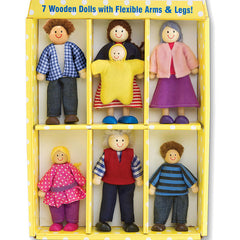 Poseable Wooden Doll Family (7 Dolls)