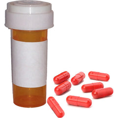 Prescription Vial w/ Blank Labels & 8 Pill Capsules