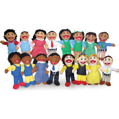 Set of 4 Full-Bodied Puppet Families (White, Black, Hispanic, Asian)