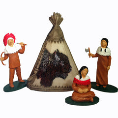 Miniature Teepee & Native-American Figures (4-Pieces)