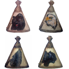 Teepees W/ Totem Animal Symbols (Set of 4)