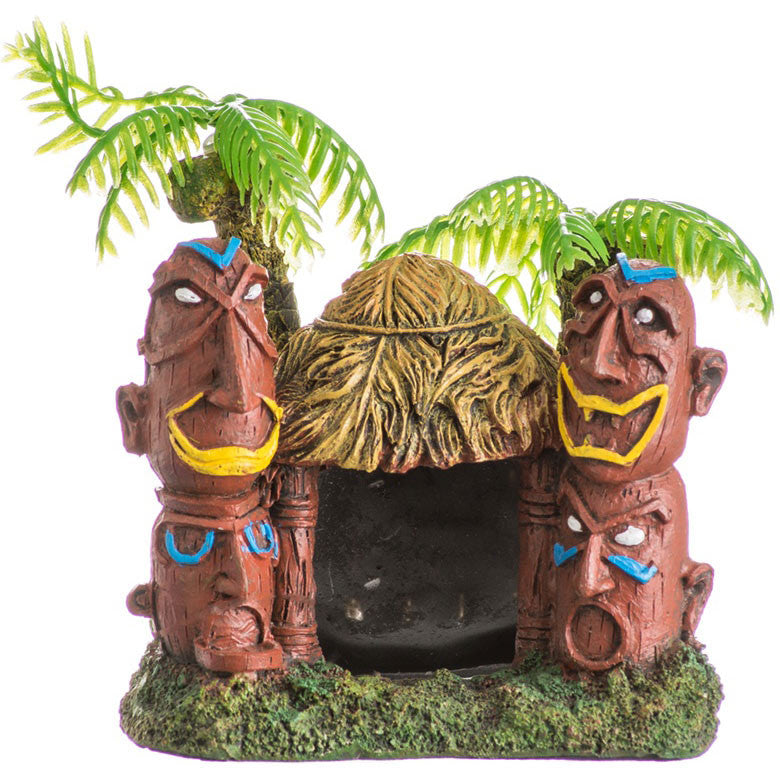 Tiki Hut With Two Palm Trees