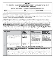 Underlying Characteristics Checklist-Early Intervention (UCC-EI)