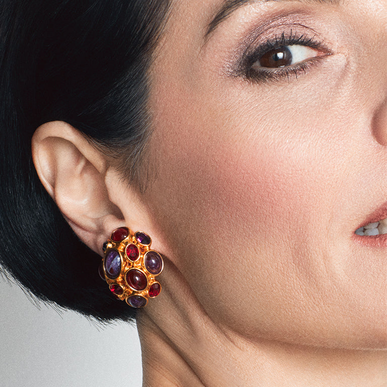 Gilt and colored glass clip earrings, Amphitrite Collection