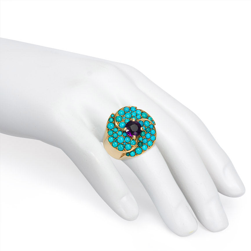Retro turquoise and amethyst ring. Cartier, Paris
