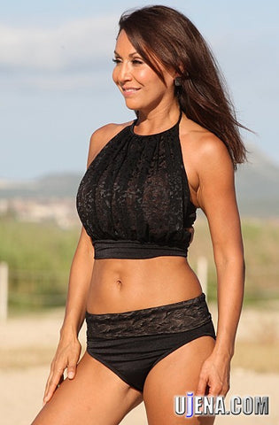 f0d56690f4e Sale UjENA Le Mademoiselle Banded Swimsuit in Black Tricot/Illusion Mesh  #E290