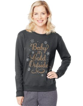 7e1b87f3 Hanes Women's Ugly Christmas Sweatshirt #O4876 ~ Baby Its Cold Outside in  Slate Heather