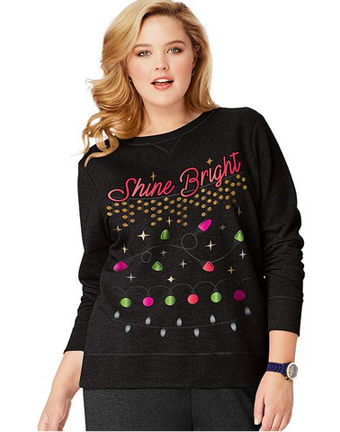 aa07d33d Ladies JMS Crewneck Ugly Christmas Sweatshirt #OJ338 ~Shine Bright in Black