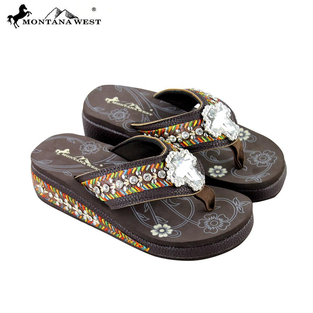 4b84a6cbb7d62e SE18-S008 Montana West Embroidery Bling Bling Collection Flip Flops ...