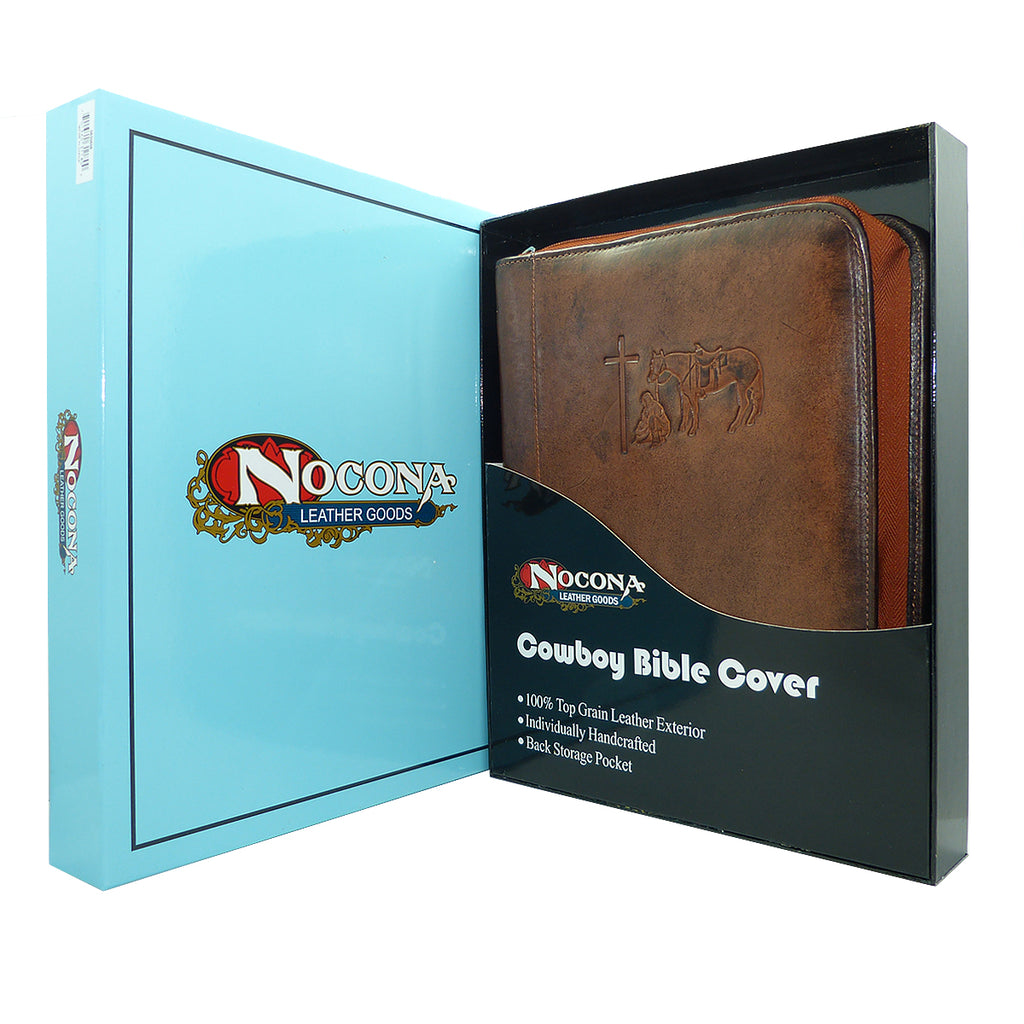 Nocona Western Bible Leather Case Cover Praying Cowboy Zippered Brown 0650608 - ILoveThatGift