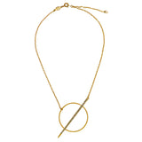 La Vie Parisienne Gold Circle and Spear Black Diamond Necklace 1182G Popesco - ILoveThatGift