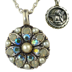 Mariana Guardian Angel Crystal Pendant Necklace 1341 Pearl Opal Blue