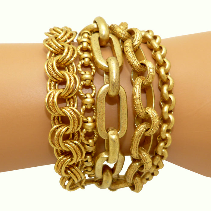La Vie Parisienne Antique Gold Multi Chain Bracelet Looks Layered 1620G - ILoveThatGift
