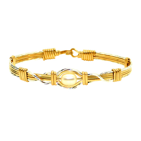 Ronaldo Hold Me Bracelet 171 Outer Silver Inner 14K Gold Wire Freshwater Pearl
