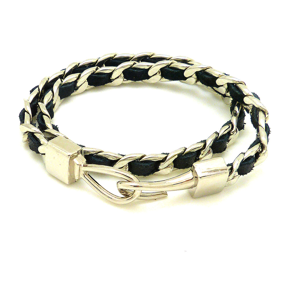 New Classic Silver Chain Link and Black Leather Double Wrap Hook Bracelet - ILoveThatGift
