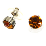 Mariana Handmade Swarovski Crystal Earrings 8mm Stud Post 203 Citrine - ILoveThatGift