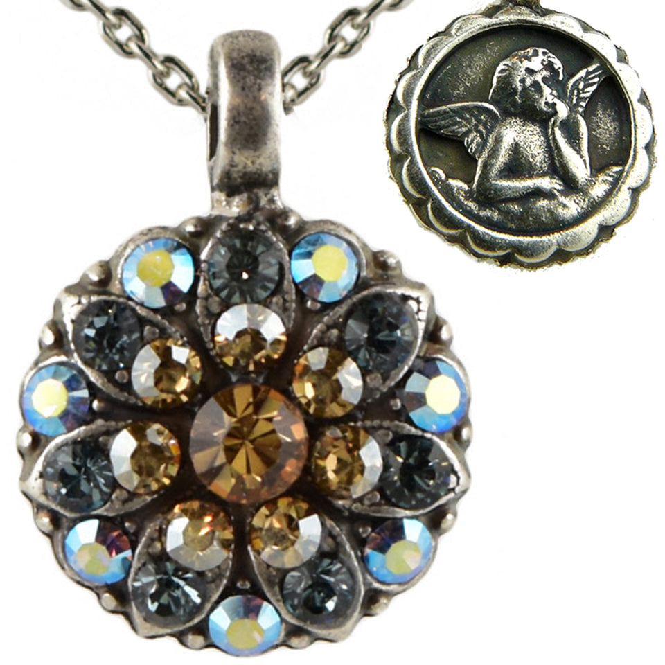 Mariana Guardian Angel Crystal Pendant Necklace 216-3 Citrine Crystal Blue
