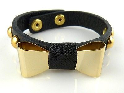 Leather Bracelet Gold toned Bow Accent Black Bracelet Designer Inspired - ILoveThatGift