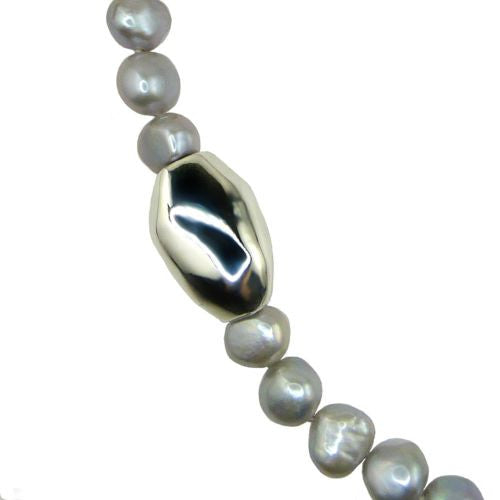 Simon Sebbag Sterling Silver Gray Pearl Beads Toggle Clasp Necklace 24 inches - ILoveThatGift