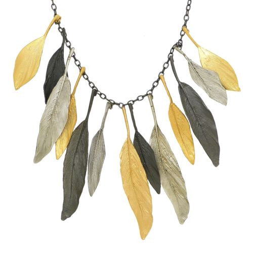 "Feather 19"" Adjustable Gold Silver Gunmetal Necklace by Michael Michaud 9010 - ILoveThatGift"