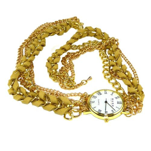 Wrap Watch Bracelet Cream Suede Gold Toned Chain by RUSH Denis Charles - ILoveThatGift