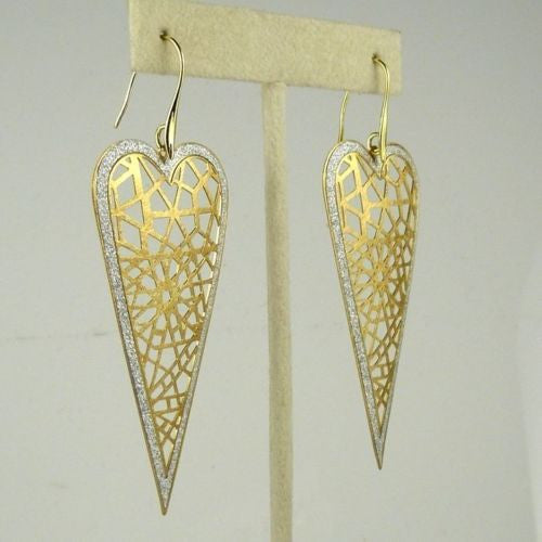 Gold tone Silver Sparkle Heart Earrings RUSH Denis Charles Open Weave - ILoveThatGift